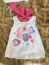 Chelsea's Corner Kids Girls Medium Size 5 6 Cotton White Pink Fish Tank Top