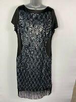 WOMEN PER UNA MARKS&SPENCER UK 22 BLACK SATIN SEQUIN FRINGED SHIFT EVENING DRESS