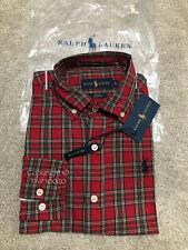 Ralph Lauren Men's RED CHECK Shirt 100% Premium Soft Cotton