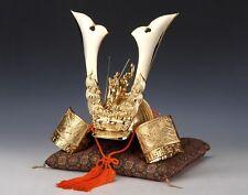 Japanese Samurai Helmet -Ogre and Hawk Deco Kabuto- middle size Gold color