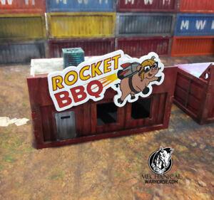 Rocket BBQ Storefront Shipping Container - Terrain Necromunda 40k Infinity