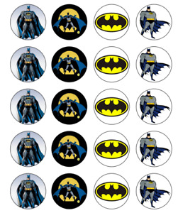 Batman Image Birthday cupcake topper 4cm X 20 round A4 icing/ Frosting sheet