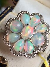 Big Ethiopian Fire Opal  Floral Ring Rhodium on silver Size O (2.910ct