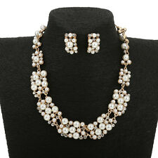 Wedding Bridal Faux Pearl Rhinestone Necklace Earring Jewelry Sets