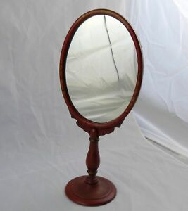 """Antique 1920's Red Lacquered Vanity Stand Mirror 7-1/4"""" x 16-1/2"""""""