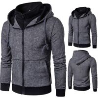Men's Outwear Sweater Slim Hoodie Zip Up Coat Hooded Sweatshirt Coat Jacket