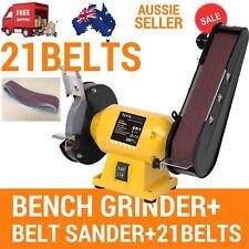 FREE 21 BELTS 150MM BENCH GRINDER LINISHER SANDING GRINDING WHEEL BELT SANDER