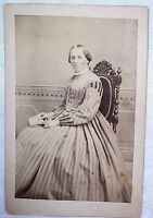 CDV Woman in HOOP DRESS Fancy Chair Civil War Era