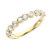 0.50 Ct Claw Set Round Brilliant Cut Diamond Half Eternity Ring 9K Yellow Gold