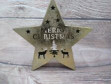 """New! Holiday Mantel Table Decor Gold STAR Candle Holder """"Merry Christmas"""" ❄ Deer"""