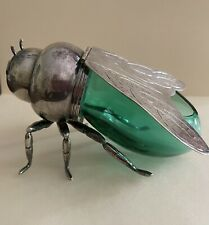 Teghini Firenze Blue /Green Glass & Silver Plate Bumble Bee Honey Pot Ex Cond!