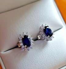 Sapphire created diamond Royal Blue stud earrings come in luxury beech ring box
