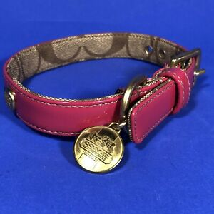 Genuine Coach Hot Pink Patent Leather Dog Collar Size Small BRAND NEW IN BOX