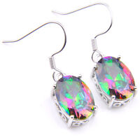 Xmas Gift Oval Shaped Rainbow Mystical Topaz Gems SIlver Dangle Earrings