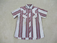 Wrangler Shirt Adult Large White Red Pearl Snap Western Rodeo Cowboy Mens *