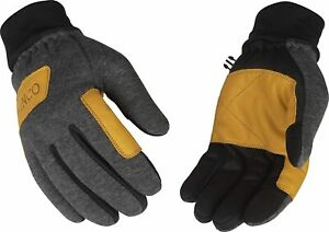 Kinco 2981 Lined Mens Fleece Gloves Lightweight Gray Leather Palm Touchscreen