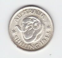 1944 S Sterling Silver Australia One Shilling Coin P-106