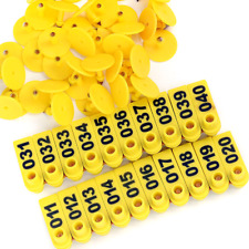 100 Pack Number Plastic Tags Livestock Animal Ear Tag Pigs Cattle Sheep Yellow