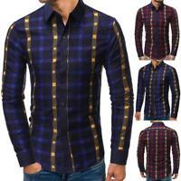 Luxury Men Stylish Fashion Casual Shirt Slim Fit T-Shirt Long Sleeve Formal Tops