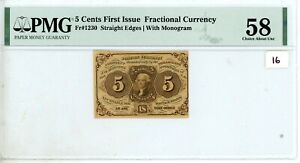 5 CENTS FRACTIONAL CURRENCY FIRST ISSUE PMG AU58 FR-1230 #16