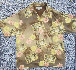 Tommy Bahama Hawaiian Silk Postcard Large Button Shirt Loop Collar