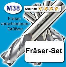 Fräser-Set 4+6+8+10mm für Metall Kunststoff Holz etc. M38 vergl. HSSE HSS-E Z=2