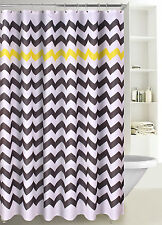 Chevron Print Zig Zag Fabric Shower Curtain with Reinforced Grommets, SC-01