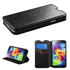 For Samsung Galaxy S5 Leather Credit Card Hybrid Wallet Case Cover Black