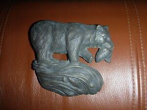 SPI solid brass bronze door knocker bear hunting for fish in river *RARE