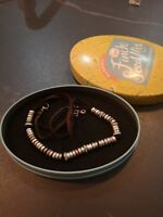 Fossil Necklace Vintage Silver Gold Ox Copper Tone Discs Beads Leather Pave Set