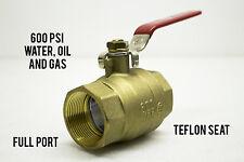 "C&C 1 1/2"" NPT Brass Ball Valve Full Port, Teflon Seat 600 PSI WOG"