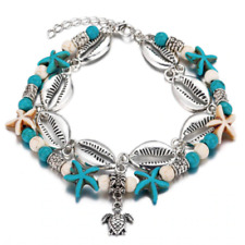 Womens turquoise silver sea star double layer beaded anklet ankle bracelet