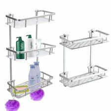 2/3Tier Aluminium Towel Rack Shelf Shower Shampoo Storage Holder Bath Organizer