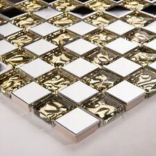 10x10cm Edelstahl und texturiert Gold Glas Mosaik Fliesen Muster(MT0157 muster)