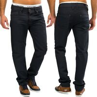Hommes Coated Denim Blue Jeans Pantalons pantalon Chino Shiny jambe droite