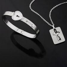 Bangle Bracelet + Key Pendant Necklace Couple Lovers Stainless Steel Heart Lock