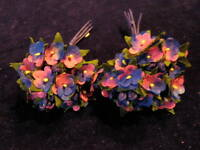 """Millinery Flower Doll Size 1/2"""" Pink Blue Lot 2bnch For Hat Headbands + Hair KD3"""