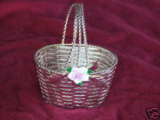 Silver Plated Basket With Hand Painted Porcelain Flower