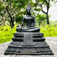 "10.2"" Thailand Temple Black Color Buddha Statue With Script From Ayutthaya City"