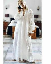 H&M Conscious White Broderie Anglaise Maxi Kaftan Dress Size M