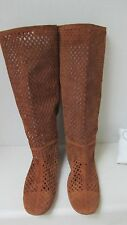 $ 1,050 Prada Perforated 100 % Suede Light Brown/Tan Boots  Size 42. Italy