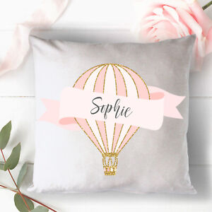 Personalised Pink Hot Air Balloon Cushion Cover  - Nursery Gift, New Born