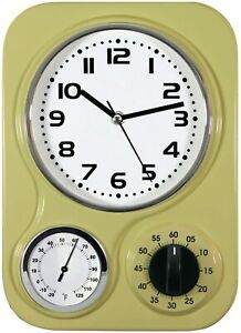 """Northpoint Kitchen Clock With Temperature & Timer Metal Retro Style 9"""" x 13"""""""