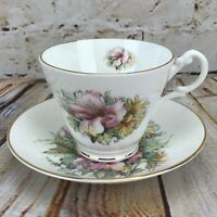 Tea Cup & Saucer Fine English Bone China Floral Pink Lily Royal Patrician
