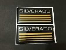 New Custom Epoxy Resin Silverado Emblem Pillar Cab Badge 2pcs Yellow