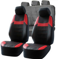 Lexus IS300 IS300H Universal Black & Red Pvc Leather Look Car Seat Covers Set