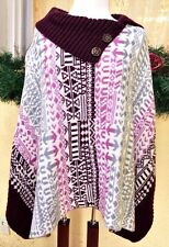 Womens One 1 Size Poncho Sweater Brown Multi Split Neck Buttons Nordic Boho