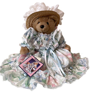 """Vintage 1993 Bearly People Victorian Plush Bear- Lace, Hat, Puffy Sleeves,  16"""""""