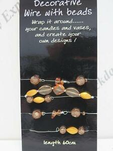Decorative wire With Beads, Garland Vase Candle Decoration (60cm wire) 6 Colours