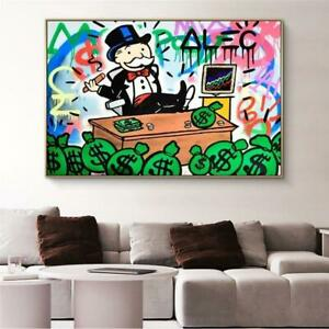 Alec Monopoly Rich Money Man Canvas Painting On The Wall Art Posters And Prints